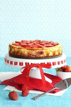 Strawberry Shortcake Cheesecake with a sponge cake crust