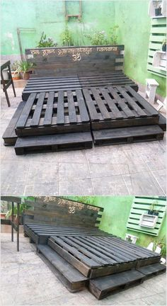 20 creative ideas for reusing wooden pallets Give your . - 20 creative ideas for reusing wooden pallets Give your living room an attractive look with the idea - Wooden Pallet Beds, Pallet Bed Frames, Diy Pallet Bed, Wooden Pallet Projects, Diy Bed Frame, Diy Pallet Furniture, Pallet Wood, Pallet Ideas, Garden Furniture