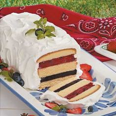 Red, White & Blue Torte frozen pound cake with blueberry & strawberry or raspberry pie filling & whipped topping