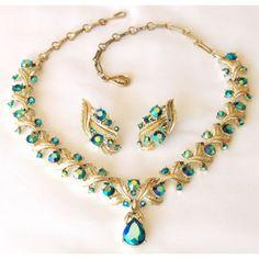 Coro Aqua Blue Teardrop Aurora Rhinestone Necklace Earring Set