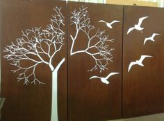 Tree with Scattered Leaves - PO Box Designs Screen Design, Gate Design, Box Design, Metal Panels, Fence Panels, Laser Cut Panels, Garden Screening, Decorative Wall Panels, Steel Art
