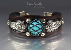 Hand cut, dyed and finished leather bracelet with fine silver accents.  Lisa Barth
