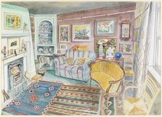 'The Art of Acquisition: The Great Bardfield Artists' Houses' exhibition runs at the Fry Interior Design Renderings, Interior Rendering, Architecture Drawings, Online Art Gallery, Cat Art, Painting Inspiration, Illustrators, Illustration Art, Gallery Wall