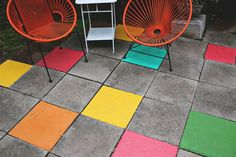 Painted Tile Patio… an easy, fun update! www.abeautifulmess.com