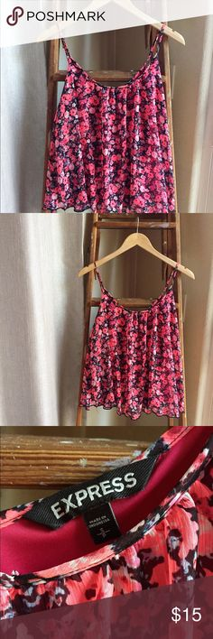 Express floral print tank top Excellent condition, never been worn. Cute, girly, floral print. Express Tops