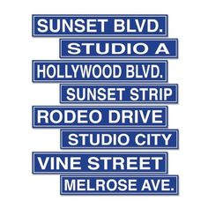 Hollywood Street Sign Cutouts 4 inches x 24 inches