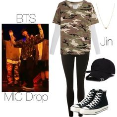 BTS MIC Drop Jin inspired outfit by melaniecrybabyz on Polyvore featuring polyvore, fashion, style, Zoe Karssen, Majestic, Topshop, Converse, Zoë Chicco and clothing