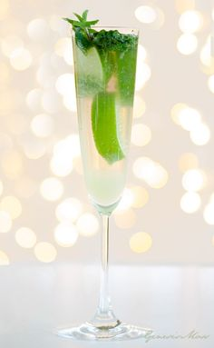 Lots of drink recipes!  SPARKLING MOJITO: INGREDIENTS: Half a fresh lime | 1 teaspoon brown sugar | 8 fresh mint leaves | Crushed ice | 50 ml dark rum | Champagne to top