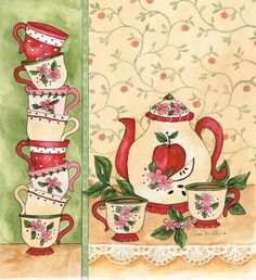 """""""Apple Tea Party""""  Wouldn't this make a sweet art quilt......"""