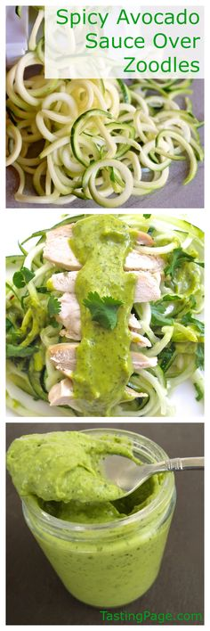 Gluten free zucchini noodles combine with roast chicken and a spicy, creamy dairy free avocado sauce for a refreshing and healthy meal