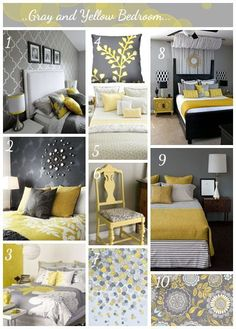 Yellow and Gray Bedroom Decorating Idea. Yellow and Gray Bedroom Decorating Idea. Gray and Yellow Bedroom Ideas Yellow Gray Bedroom, Grey Room, Bedroom Colors, Bedroom Decor, Gray Yellow, Yellow Bedrooms, Mustard Yellow, Mustard And Grey Bedroom, Mustard Walls