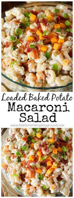 Loaded Baked Potato Macaroni Salad Love that classic loaded baked potato combination of sour cream, chives, cheese, and bacon? Enjoy it in a new delicious way in this Loaded Baked Potato Macaroni Salad! Crock Pot Recipes, Pastas Recipes, Pasta Salad Recipes, Top Recipes, Side Dish Recipes, Cooking Recipes, Healthy Recipes, Hamburger Recipes, Easy Recipes