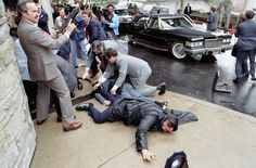 Ronald Reagan is shot, 1981.