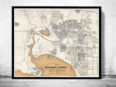 Vintage Map of Melbourne City , Australia Oceania 1851 - product image