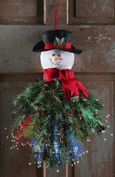 Fiber Optic Snowman Door Hanger
