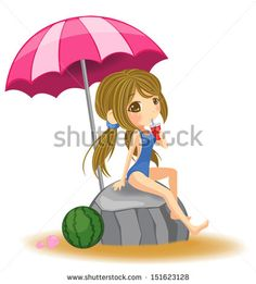 Cute cartoon girl in swimsuit resting and eating on the rock with umbrella and fruit in the summer beach in white background, create by vector