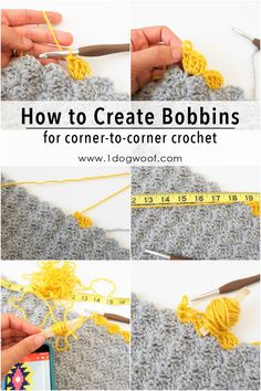 How to Create Bobbins for Small Sections of Color in corner to corner crochet