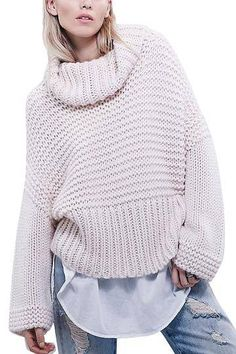 Pink Turtleneck Chunky Oversized Knit Jumper - US$23.95 -YOINS