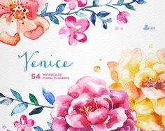 Venedig. 54 Aquarell florale Elemente Popies Rosen von OctopusArtis