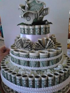 Money cake 90 dollars, I made for my cousins wedding