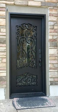 Our iron doors are built one at a time and are custom designed specifically for . Grill Door Design, Door Gate Design, Door Grill, Unique Front Doors, Iron Front Door, Wooden Main Door Design, Wrought Iron Doors, Cad Drawing, Round Top