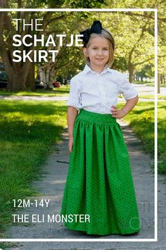 Maxi, Midi and Knee Length Skirt Sewing Pattern, The Schatje Skirt, to Girls Skirt Patterns, Skirt Patterns Sewing, Skirt Sewing, Vogue Patterns, Clothing Patterns, Toddler Maxi Dresses, Toddler Skirt, Skirt Pattern Free, Cloak Pattern