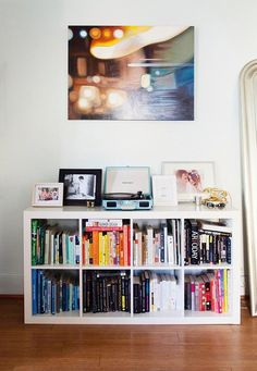 Ikea bookcase organizes books while doubling as a console