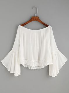 Shop White Lace Trim Bell Sleeve Off The Shoulder Top online. SheIn offers White…