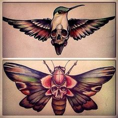 Skull hidden in birds and butterflies #Tattoo