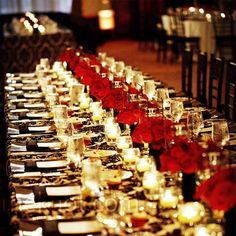 Red Rose Centerpieces The couple decorated the long tables with rows of glass tealight holders and low arrangements of red roses. Mod Wedding, Free Wedding, Wedding Table, Floral Wedding, Wedding Reception, Wedding Ideas, Wedding Shit, Ivory Wedding, Wedding Things