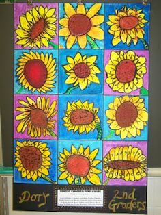 "Vincent Van Gogh - The students were able to create a giant sunflower creating emphasis in their artwork. Then they were shown how to blend colors using oil pastels. The students had to choose a cool color for their background to make their sunflower ""pop"" in their piece of art."
