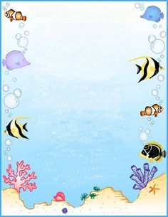Under the sea Sea Crafts, Diy And Crafts, Paper Crafts, Borders For Paper, Borders And Frames, Printable Lined Paper, Pretty Writing, Cartoon Fish, Page Borders