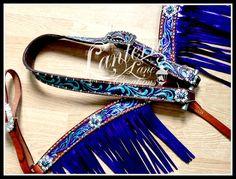custom painted tack set, metallic purple fringe.