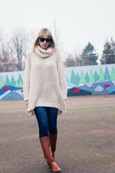 oversized. #sweater #denim #boots  @J.Crew