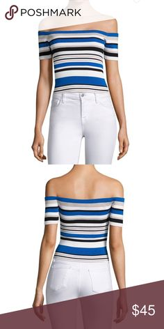 """888e3943dbd NWT off the shoulder strip knit top. Black Blue White Silver off the  shoulder rib knit top. Short sleeves pull over. Approximately 15"""" to the  bust to hem."""