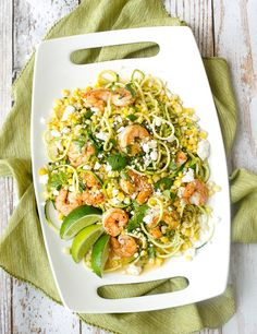 APPROVED!!  Mexican Street Corn on Zucchini noodles with Shrimp