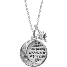 Disney's Winnie the Pooh Cubic Zirconia Sterling Silver Moon & Star... ($60) ❤ liked on Polyvore featuring jewelry, necklaces, white, star pendant necklace, sterling silver chain necklace, cubic zirconia necklaces, white necklace and chain necklaces