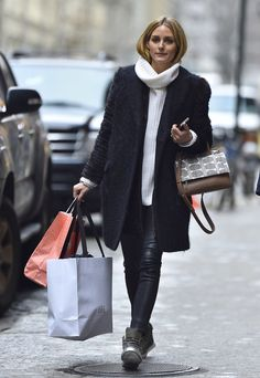 Olivia Palermo went shopping in chic Winter layers.