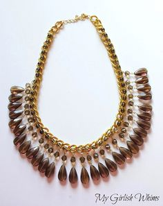 Bead and Wire Embellished Chain Statement Necklace Tutorial