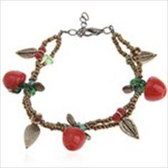 Charming Apple Pendant Adjustable Bangle Bracelet for Women Ladies Girls