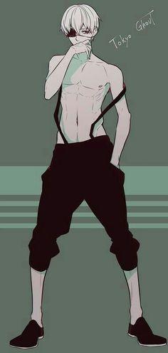 Kaneki Ken, overalls, cool, eye patch, white hair, ghoul, text; Tokyo Ghoul