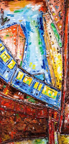Original Cities Painting by Dell Camargo Painting Canvas, Oil On Canvas, Canvas Art, Chicago Buildings, Original Paintings, Original Art, Chicago Chicago, Train Art, Building Art