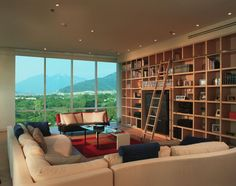Remove the television, photo frames, and other knick-knacks. Add lots more books and read with that mountainview.