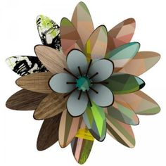Miho  Northern Star Flower Decor: Miho's super stylish design in plaids, wood effect and graphic art make up this lotus flower decor. Use it to decorate your wall space or place on a door.