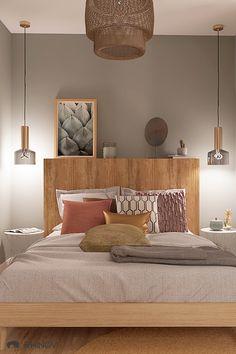 Découvrez l'aménagement et la shopping-list d'une suite parentale style ethnique décorée par une décoratrice d'intérieur Rhinov. #suiteparentale #chambre #bathroom #ethnique #contemporain #bohème #déco #houzz