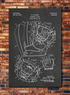 Baseball Glove Patent by CatkumaPatentPress on Etsy