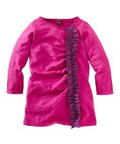 Fuchsia Ruffle Shift Dress - Toddler & Girls by Tea #zulily #zulilyfinds