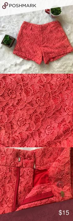 Alythea Red shorts Alythea Red shorts there's no pockets throughout the shorts and a lace design throughout the entire shorts there's no stains and no rips great for the summer weather.☀️☀️ Alythea Shorts