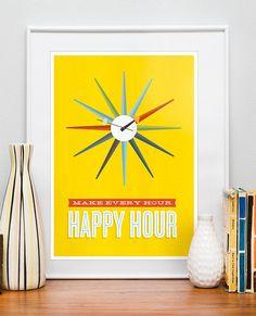 Happy hour print poster, mid century modern clock
