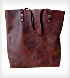 Leather Tote Bag in Women's by KMM Leather on Scoutmob Shoppe. A beautiful and roomy tote hand-sewn from oily utility leather. Comes in oxblood, black, and light brown. #leather #tote #totebag